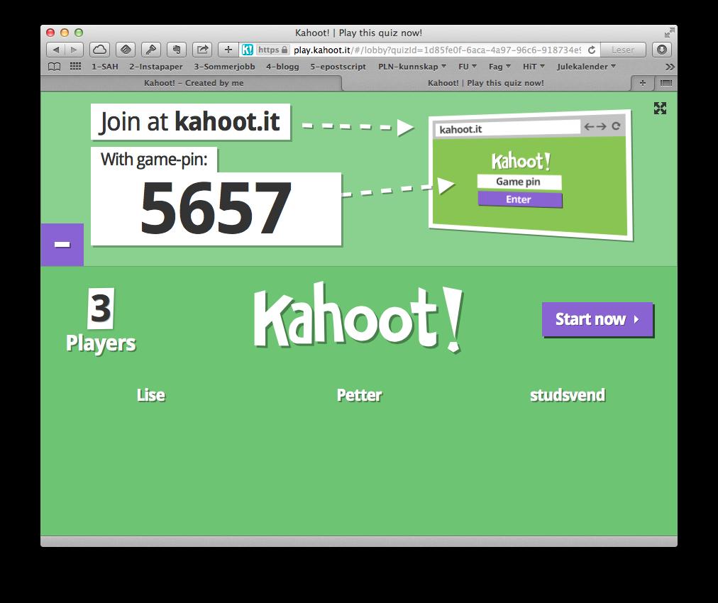 Din Kahoot-sesjon får en unik pinkode som deltakerne må taste inn for å bli med. Til nå har en deltaker (studsvend) logget inn. Når alle er inne, klikkes Start now.