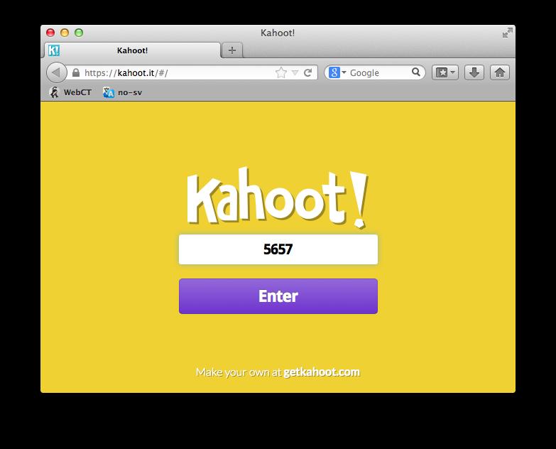 En student går til http://kahoot.it via enten mobil, nettbrett eller datamaskin. Det eneste som trengs er pinkoden.