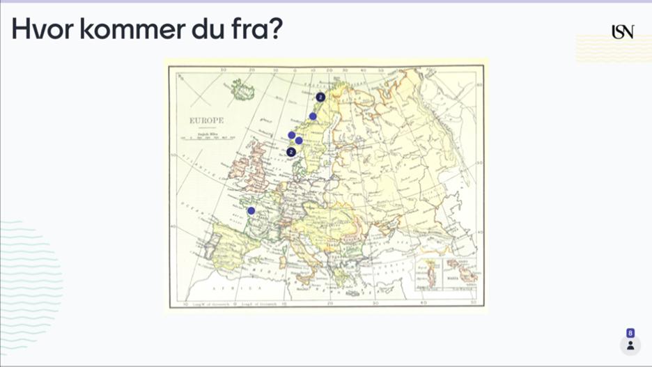 """Bilde av Mentimeter-slide med kart og markører på ulike steder og spørsmålet """"Hvor kommer du fra?"""""""