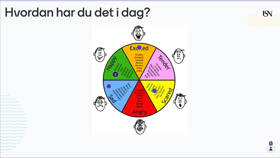 """Bilde av Mentimeter-slide med ulike stemninger og spørsmålet """"Hvordan har du det i dag?"""""""