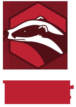 Logo for badgr, et system som kan brukes i Canvas. Logoen er en grevling.